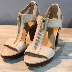 Michael Kors sandal cream textured leather